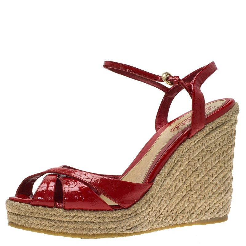 9dde0cfeea38f7 ... Gucci Red Patent Microguccissima Penelope Espadrille Wedges Size 37.5.  nextprev. prevnext