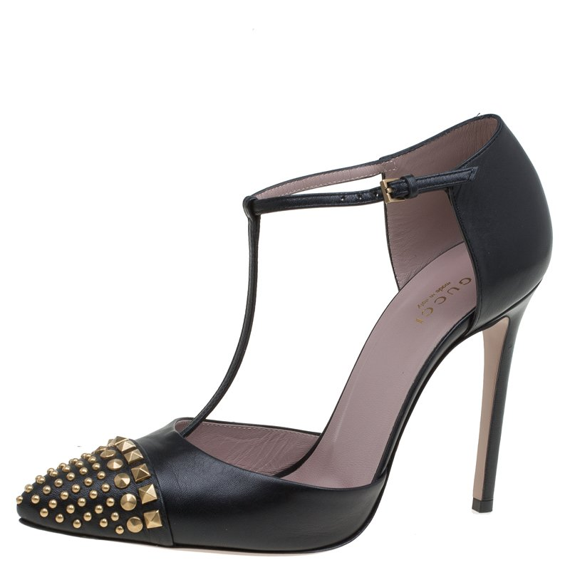 54273d08bc9 ... Gucci Black Studded Leather Coline T Strap Pumps Size 38.5. nextprev.  prevnext