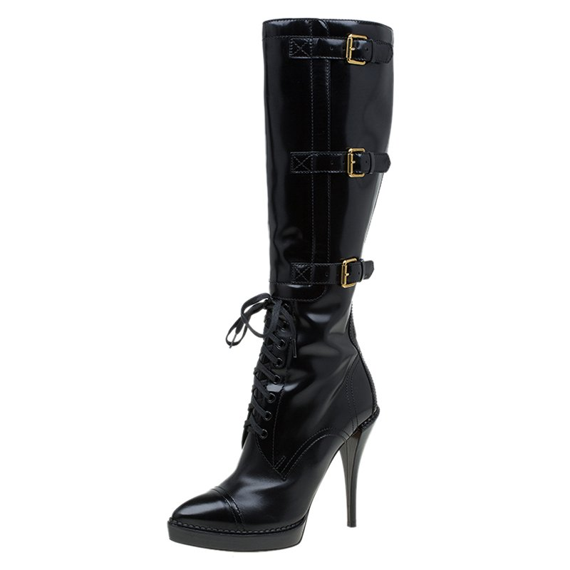95cb8584909 Gucci Black Leather Riddle Lace-Up Platform Knee Boots Size 39