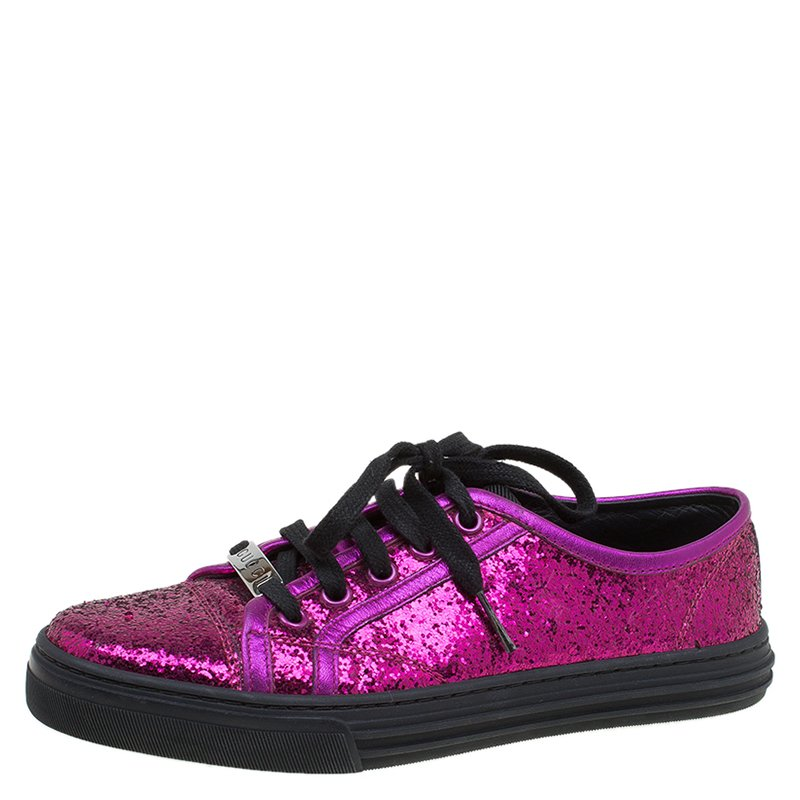 20bf4e2f4f2 ... Gucci Magenta Metallic Leather and Glitter California Sneakers Size 36.  nextprev. prevnext