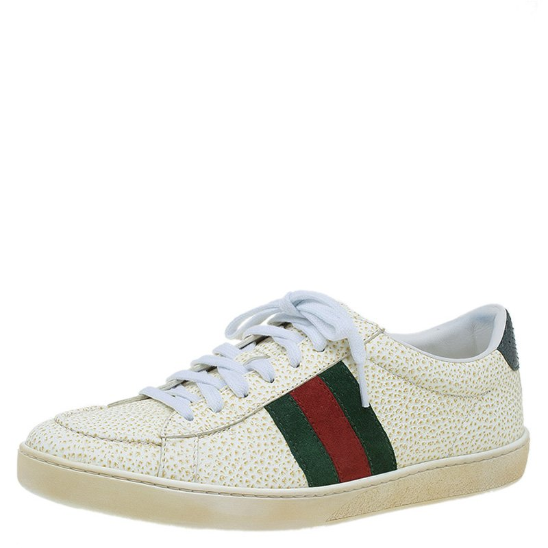7f65e7588 Buy Gucci Off White Leather Web Detail Ace Sneakers Size 38 87281 at ...