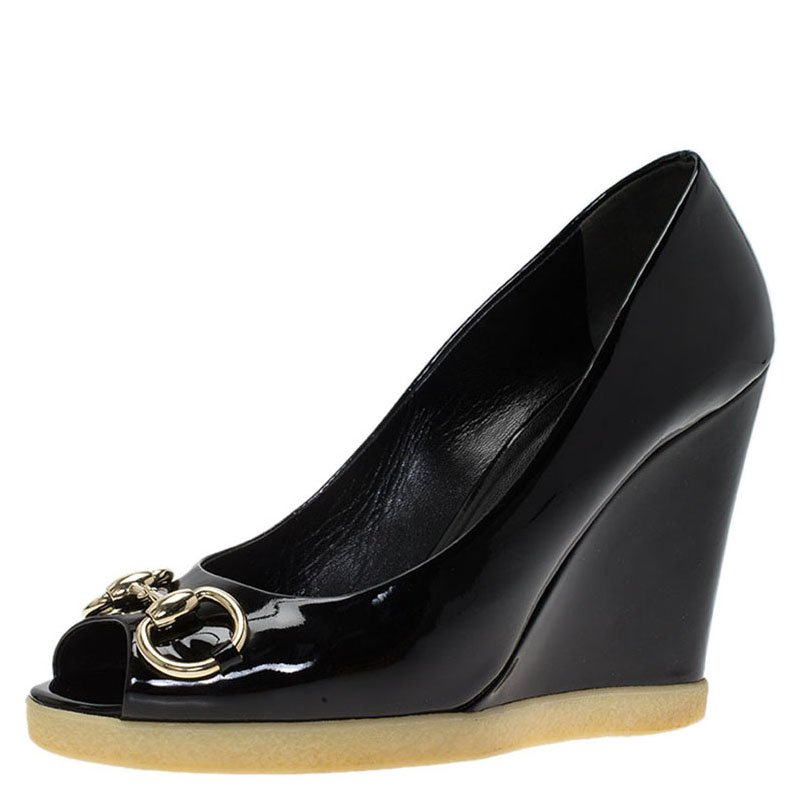 c65a9400f16 ... Gucci Black Patent Horsebit Peep Toe Wedge Pumps Size 38.5. nextprev.  prevnext