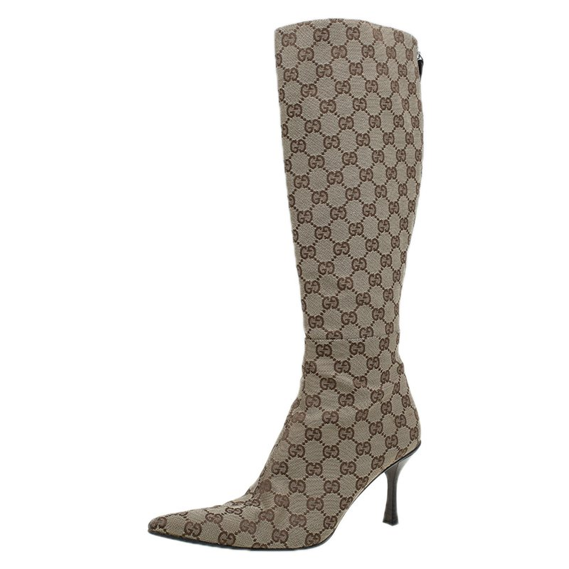 gucci gg canvas boots
