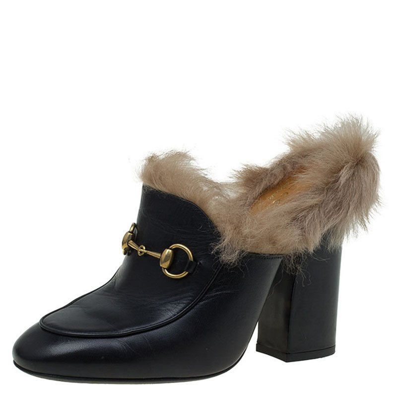 Buy Gucci Black Leather Fur Lined Princetown High Heeled Mules Size ... 3a79a764e845