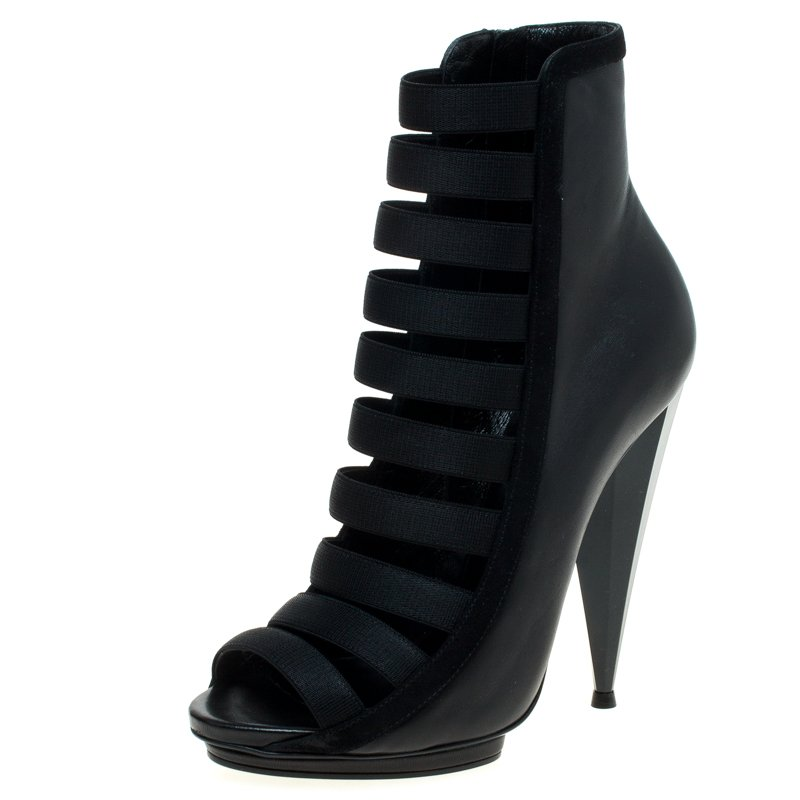f72efa52a ... Gucci Black Leather and Suede Olimpia Elastic Ladder Strap Bootie Size  38. nextprev. prevnext
