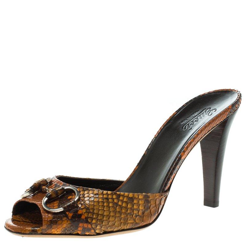d3cdbbaa61 Buy Gucci Orange Python Horsebit Bamboo Detail Peep Toe Slides Size ...