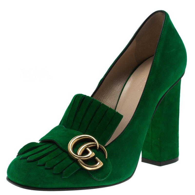 85c83ef2005 Buy Gucci Emerald Green Suede Fringe Detail Block Heel Pumps Size ...