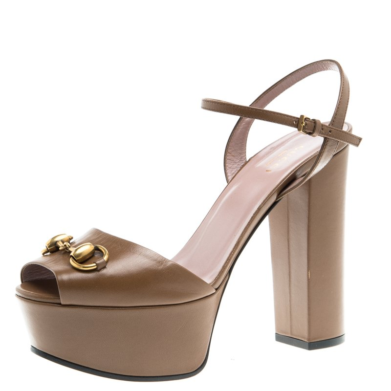 28325209646 ... Gucci Brown Leather Horsebit Ankle Strap Block Heel Sandals Size 36.5.  nextprev. prevnext