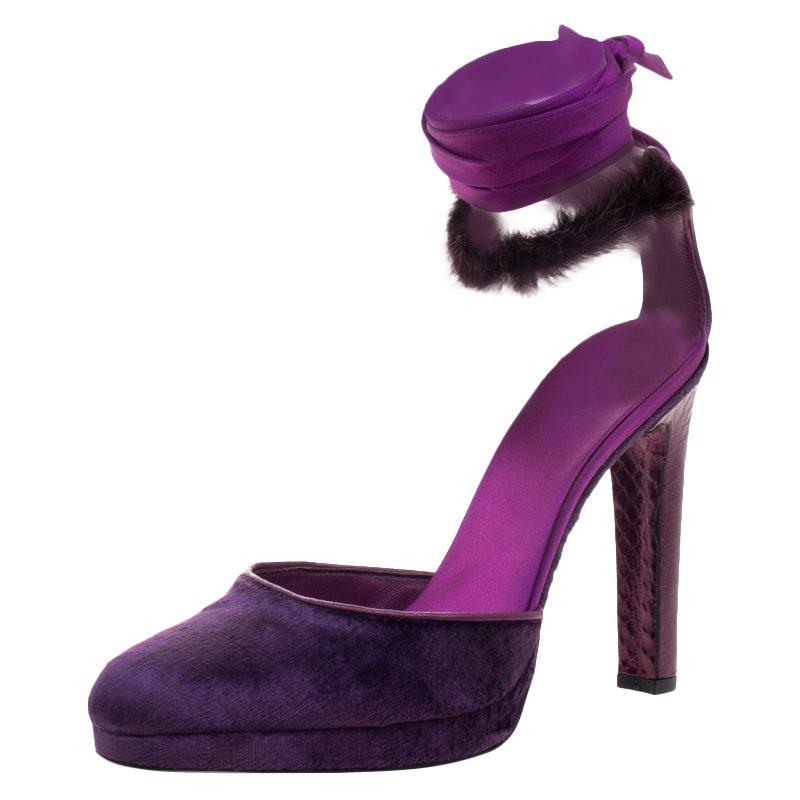 b08b3e90c6f Buy Gucci Purple Velvet and Mink Fur Ankle Wrap Sandals Size 39 ...