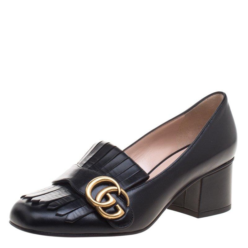 392d34d421fd ... Gucci Black Leather Marmont GG Fringe Detail Block Heel Pumps Size 36.  nextprev. prevnext