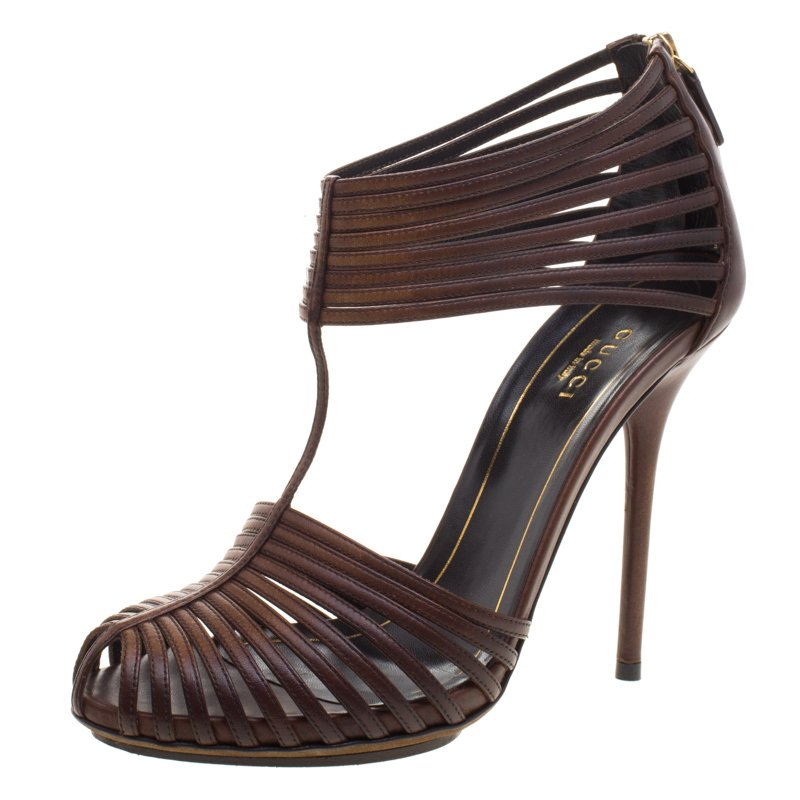 8d9d513b465d Buy Gucci Brown Leather Tamponato Strappy Sandals Size 37 99757 at ...