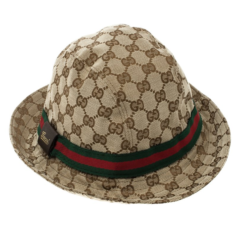 Buy Gucci Beige GG Canvas Web Fedora Hat 102150 at best price  f6f5edf9de48