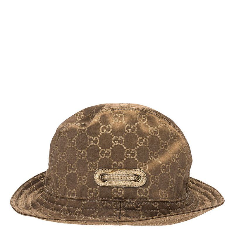Buy Gucci Brown Guccissima Satin Bow Detail Bucket Hat M 70804 at ... fd7e5536ed8