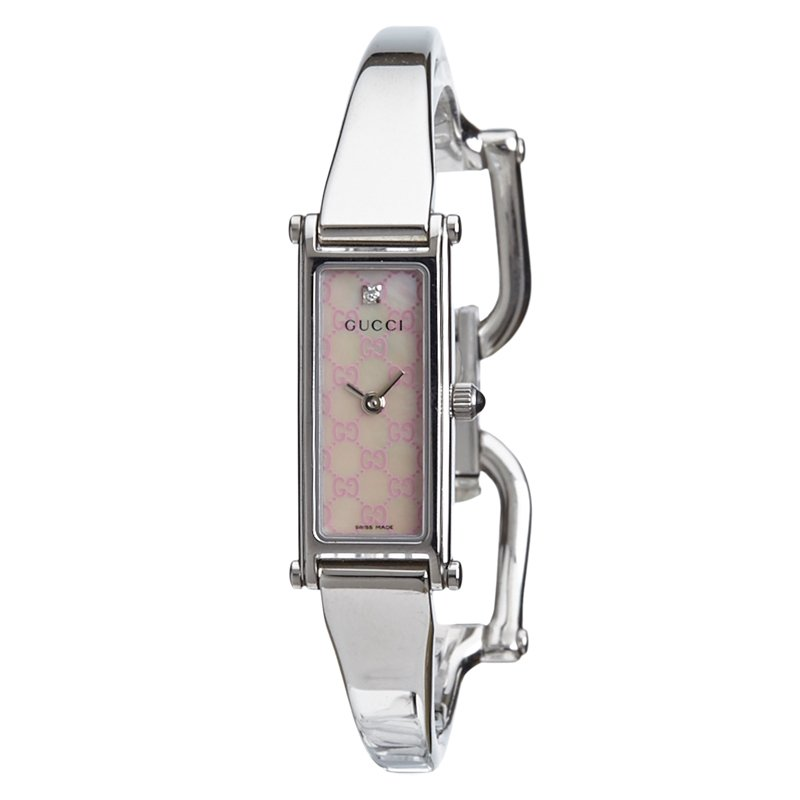 Gucci Silver Stainless Steel G-Frame Women's Wristwatch 14MM