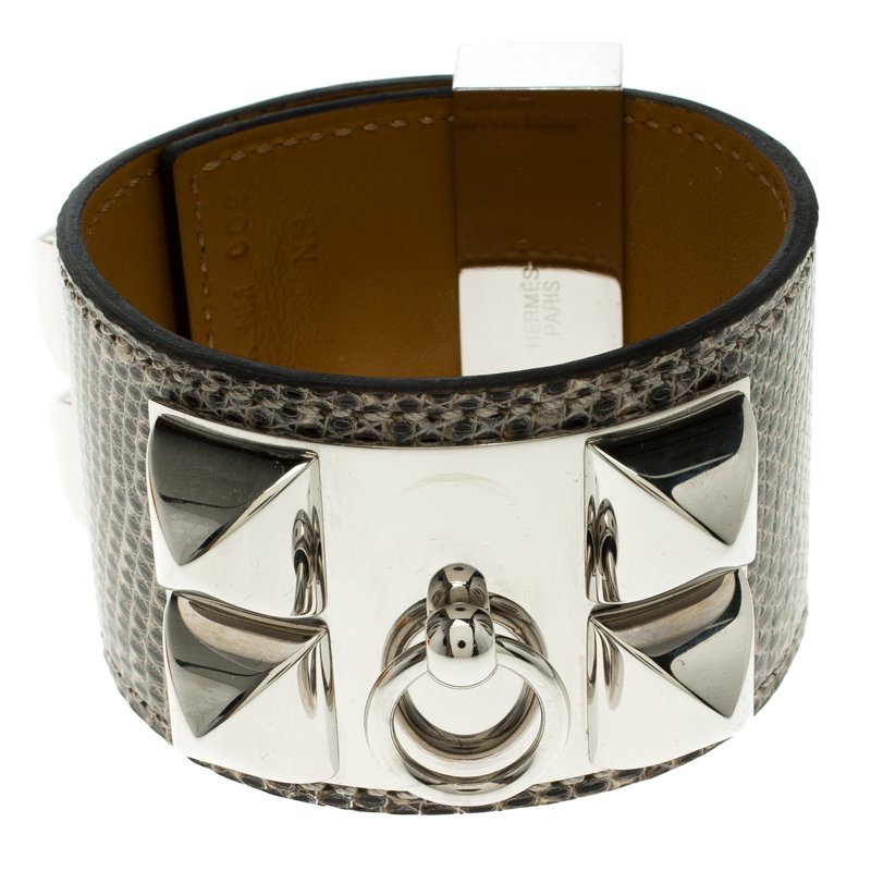 Hermes Collier De Chien Brown Lizard Leather Bracelet PM