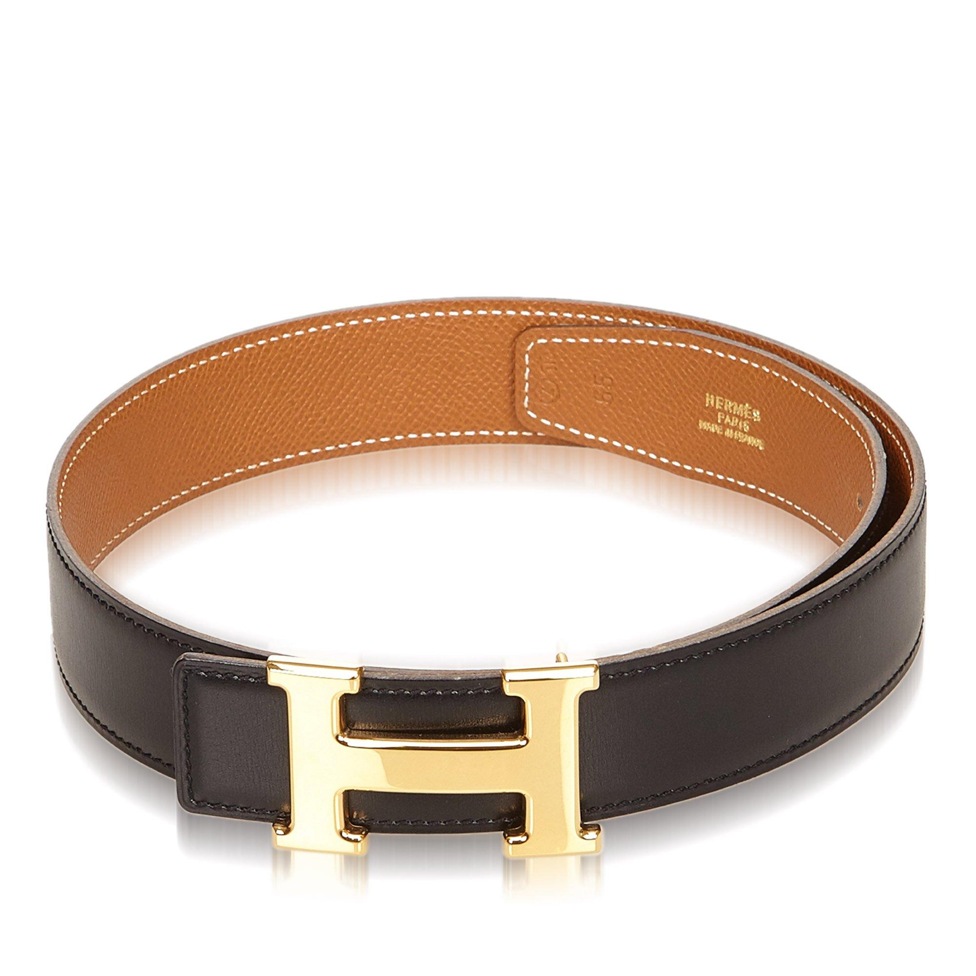 c60d816af48 ... Hermes Black Brown Leather Reversible Constance Belt 65 CM. nextprev.  prevnext