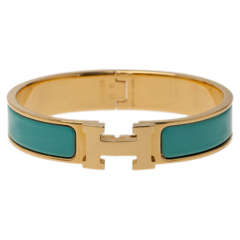 ... Hermes Clic Clac H Narrow Turquoise Enamel Gold-Plated Bracelet PM.  nextprev. prevnext 8facef50283