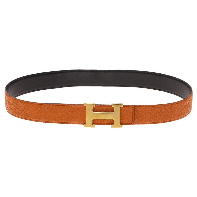 Hermes Orange/Black Leather Reversible Constance Belt 85CM