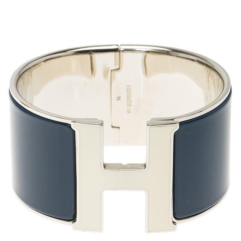 ... Hermes Clic H Extra Wide Blue Enamel Palladium Plated White Lacquered H  Bracelet. nextprev. prevnext ea8ac62d62f