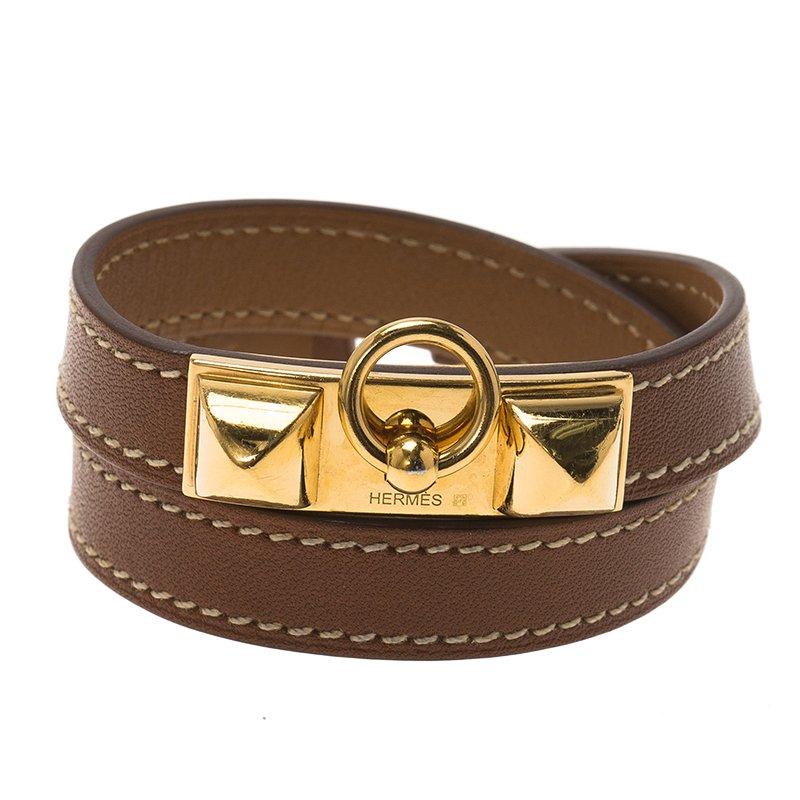 bcc3e0ccc67 Buy Hermes Rivale Double Tour Brown Leather Gold Tone Bracelet XS ...