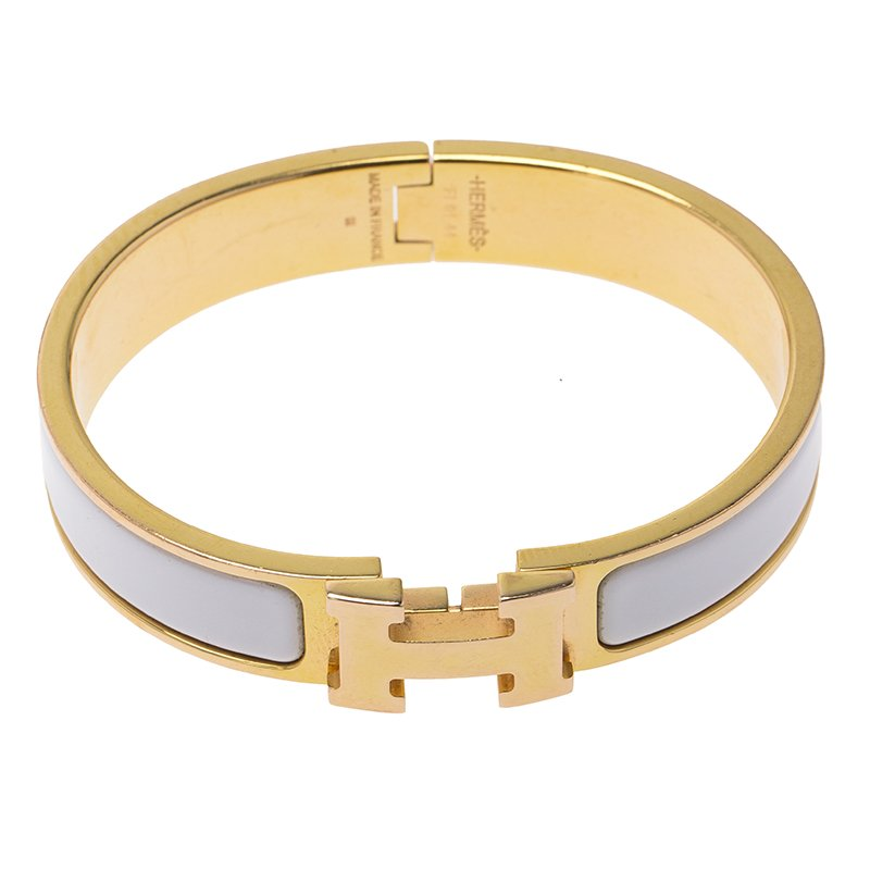 e4a9ad0315f6 Buy Hermes Clic Clac H White Enamel Gold-Plated Narrow Bracelet PM ...