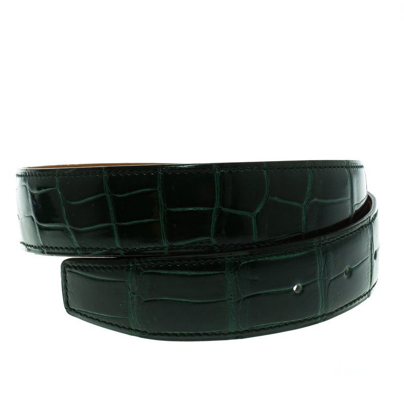Buy Hermes Green Porosus Crocodile Leather Belt Strap 90 CM 93975 at ... eead98a3f