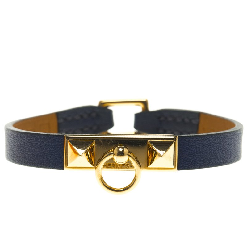4b4ce2742bb Buy Hermes Micro Rivale Blue Leather Bracelet XS 94356 at best price ...