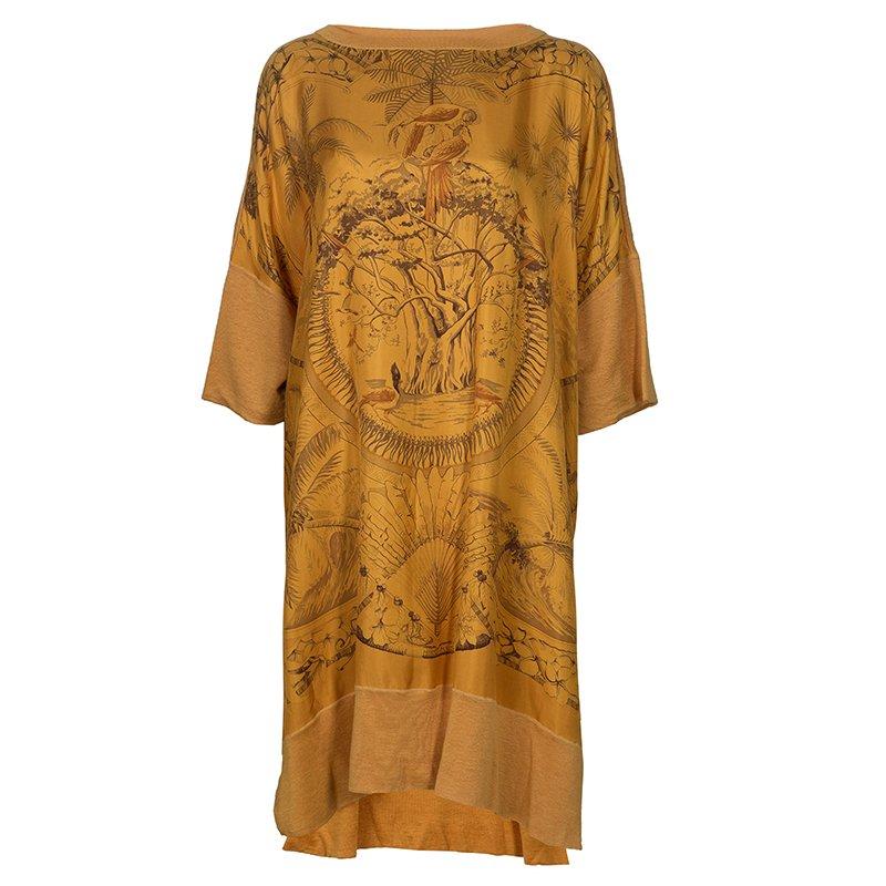 Hermes Orange Printed Silk Wool Dress OS