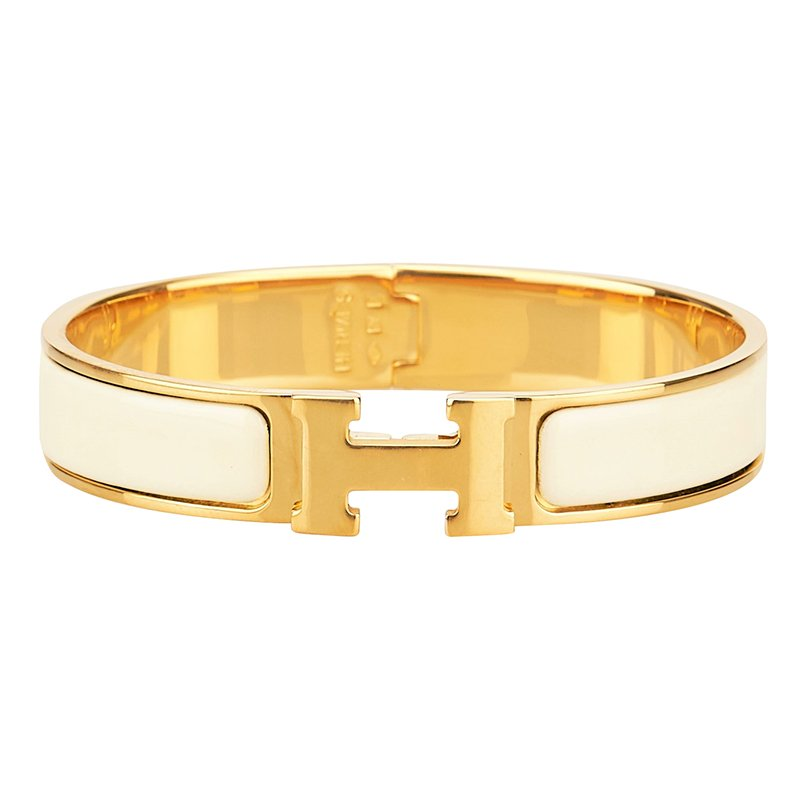 3b77763d8f17 Buy Hermes Clic-Clac H Cream Enamel Gold Plated Bracelet 86982 at ...