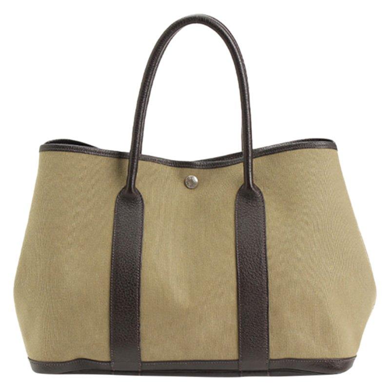 ce5248c083bb Buy Hermes Bi color Canvas Garden Party Tote Bag 103173 at best ...