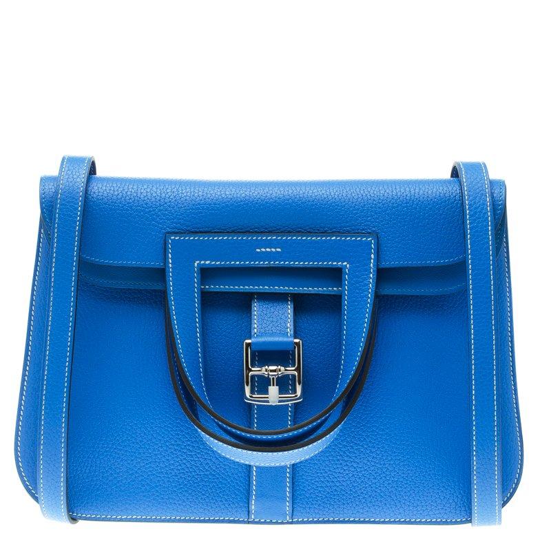 01c55b5a86e6 Buy Hermes Bleu Electrique Clemence Leather Halzan 31 Bag 109073 at ...