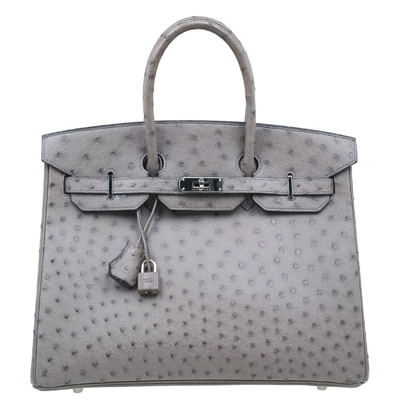 a2f3caae53f7 Buy Hermes Grey Ostrich Leather Silver Hardware Birkin 35 Bag 45660 ...