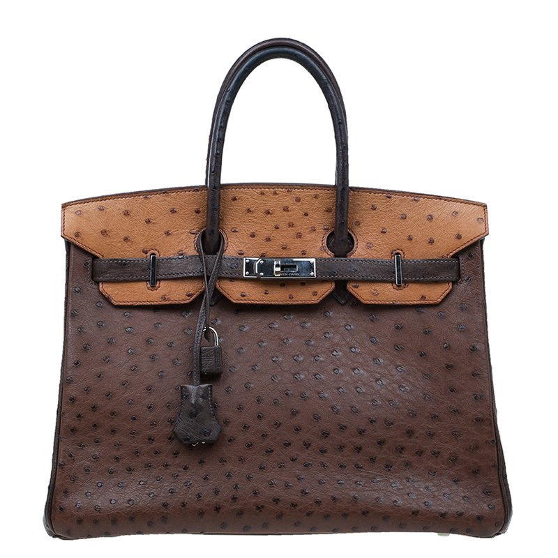 1a4f1412d749 Buy Hermes Brown Tri Color Ostrich Leather Palladium Birkin 35 Bag ...