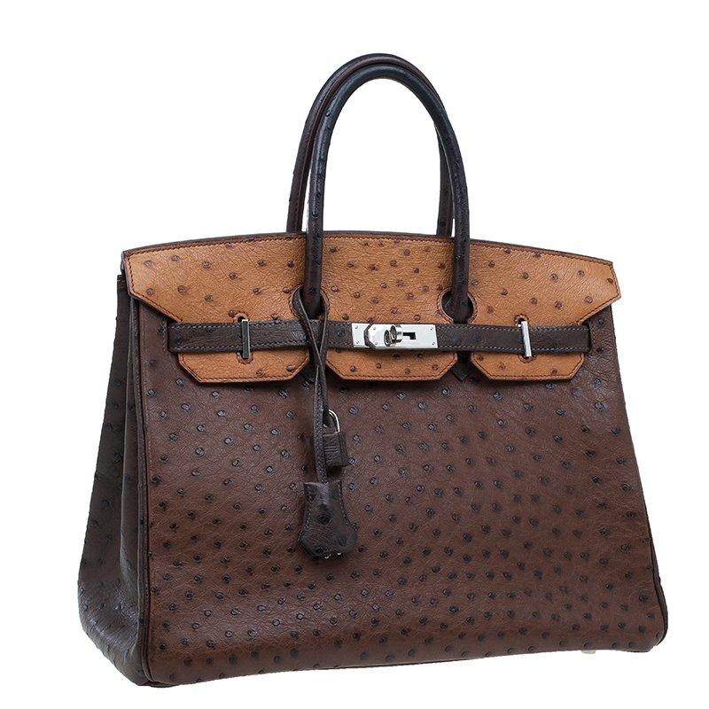 Hermes Brown Tri Color Ostrich Leather Palladium Birkin 35 Bag