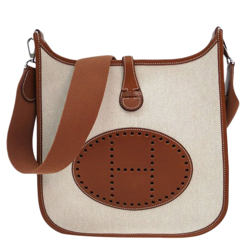 d3d25f1193 ... Hermes Bi Color Toile Canvas Leather Evelyne II PM Bag. nextprev.  prevnext