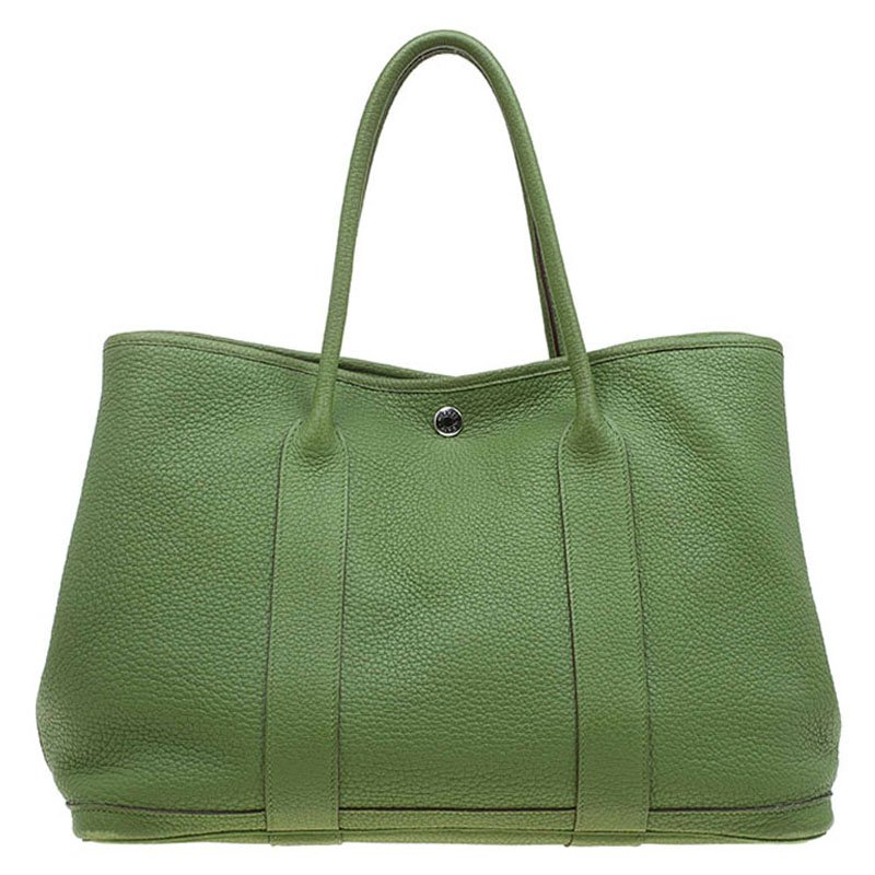Buy Hermes Green Pelouse Togo Leather Garden Party MM Tote 65882 at ... 77e180c778927