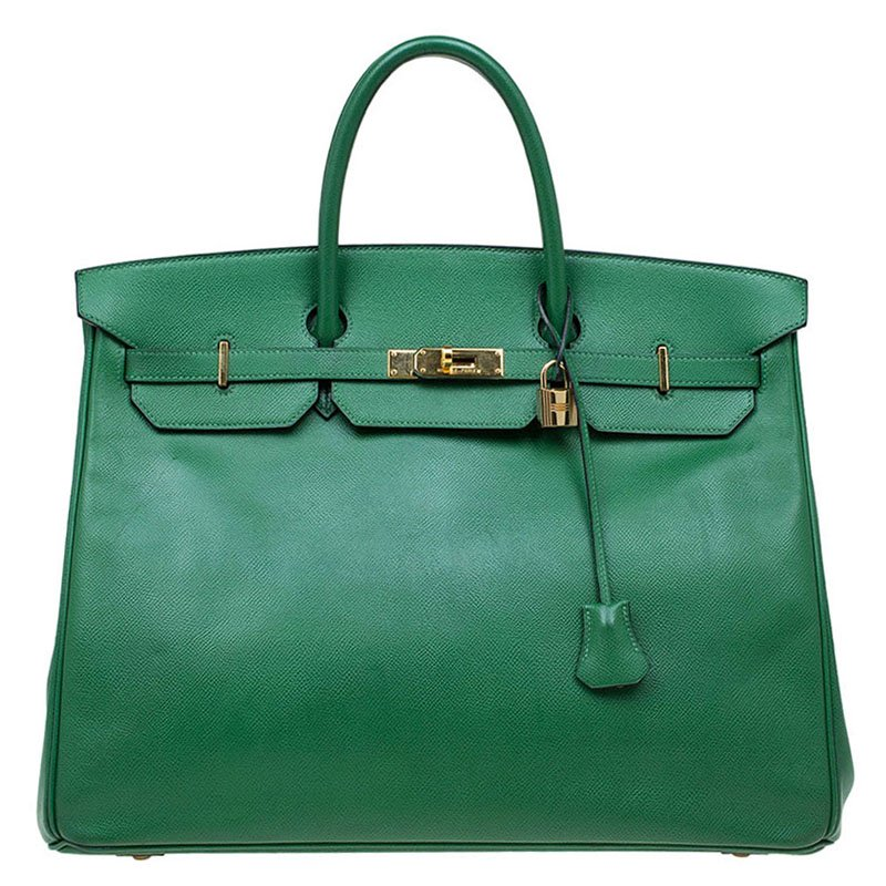 b63c21058e0d Buy Hermes Green Epsom Leather Gold Hardware Birkin 40 Bag 71477 at ...