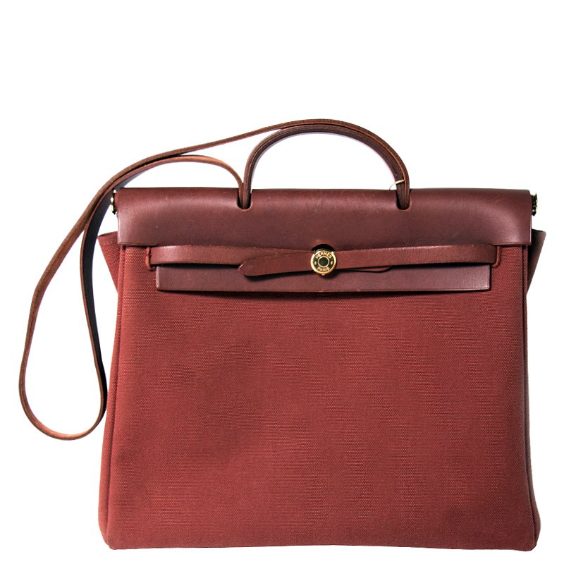 806ce4bca Buy Hermes Brown Toile Canvas/Leather 2-in-1 Herbag GM Bag 80041 at ...