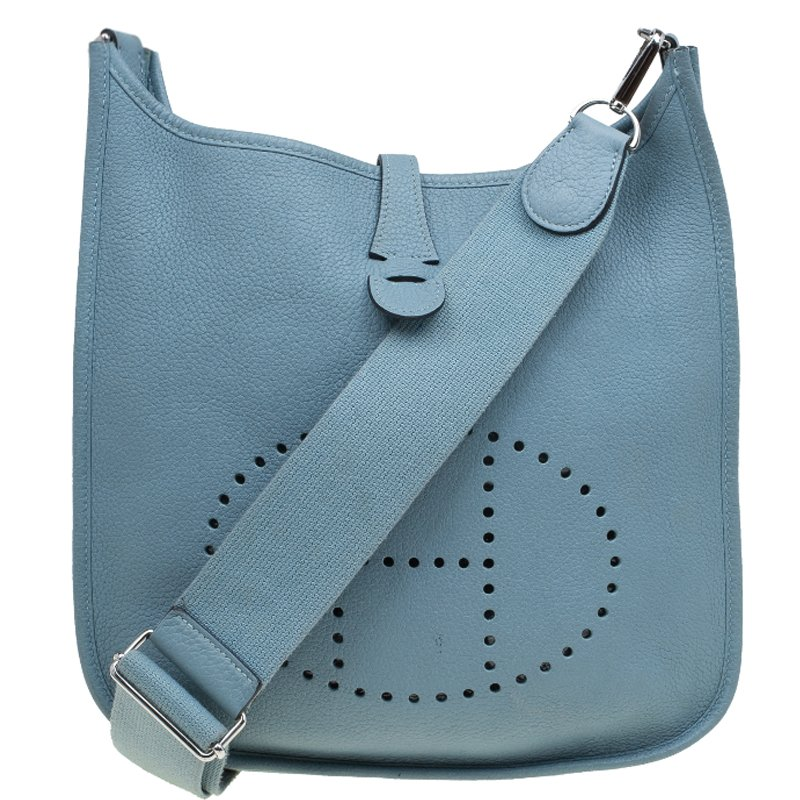 8498aa0186 ... Hermes Blue Jean Clemence Leather Evelyne III PM Bag. nextprev. prevnext