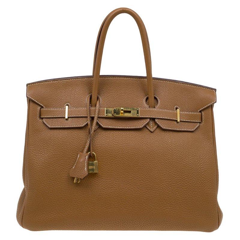 Buy Hermes Cognac Togo Leather Gold Hardware Birkin 35 Bag 86686 at ... b33de449f4