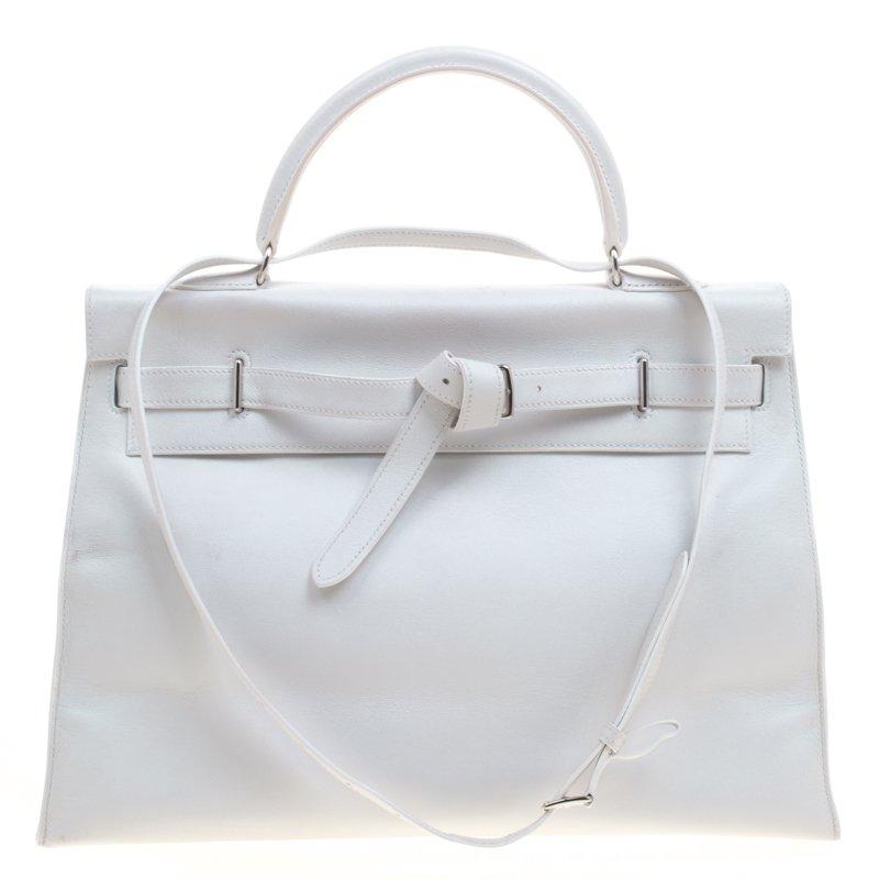 6de2a1641a ... Hermes White Swift Leather Palladium Plated Kelly Flat 35 Bag.  nextprev. prevnext