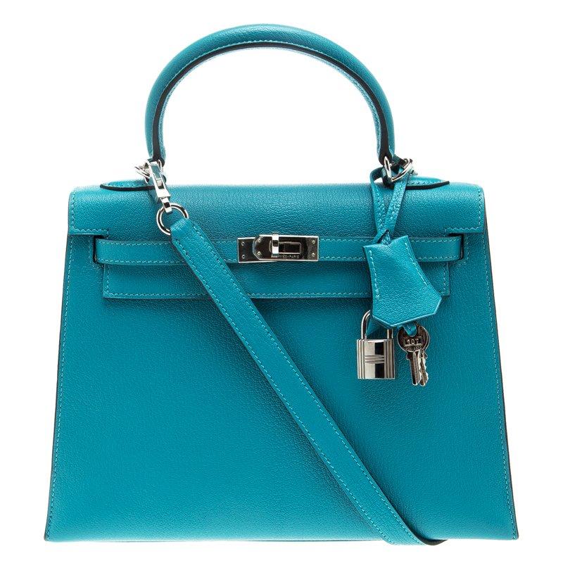 d65a206f87f9 ... Hermes Blue Paon Chevre de Coromandel Leather Palladium Hardware Kelly  Sellier 25 Bag. nextprev. prevnext