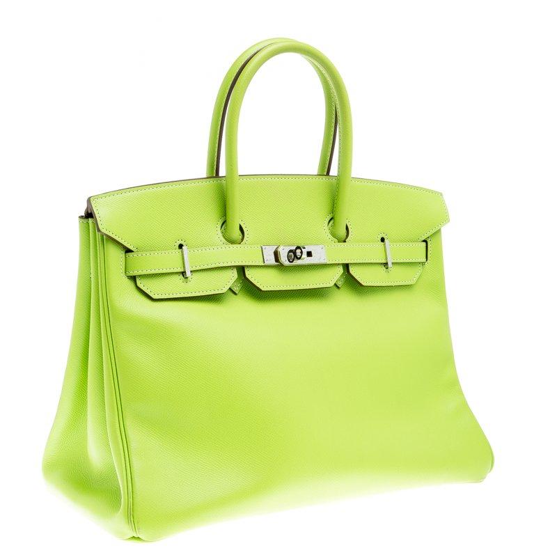 Hermes Kiwi Epsom Leather Palladium Hardware Birkin 35 Bag