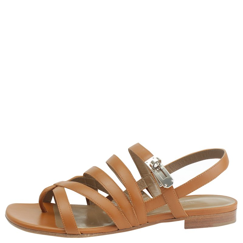 a4808ffb10d6 ... Hermes Brown Leather Marine Strappy Flat Sandals Size 39. nextprev.  prevnext