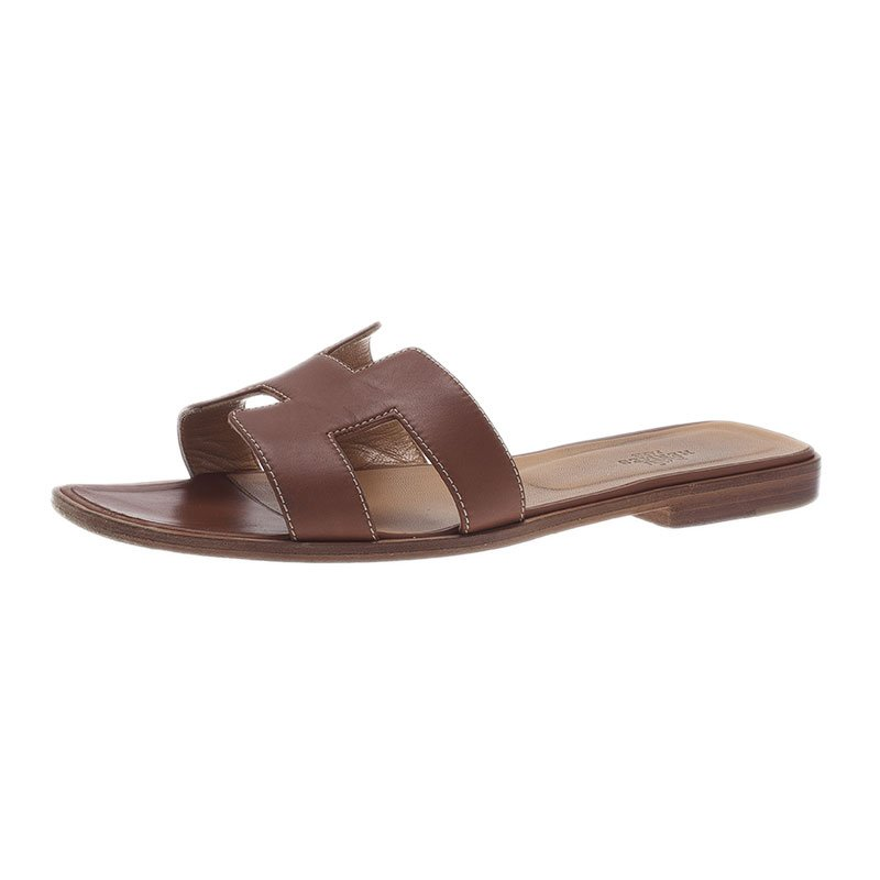 5a7381ebdcab Buy Hermes Brown Leather Oran Sandals Size 39.5 40646 at best price ...