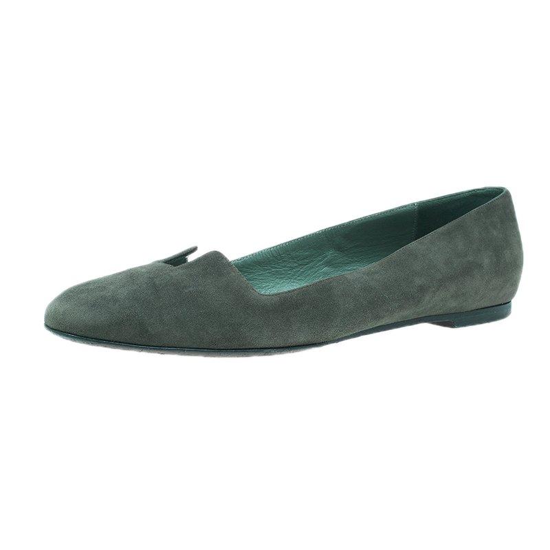 Hermes Olive Green Suede Ballet Flats