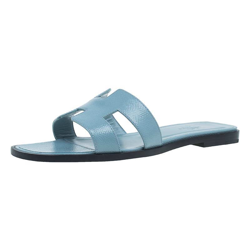 bb7c78bc2893 Buy Hermes Light Blue Patent Leather Oran Sandals Size 36.5 47310 at ...