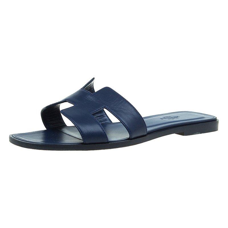 d5fae1a3f315 ... Hermes Navy Blue Leather Oran Sandals Size 39. nextprev. prevnext
