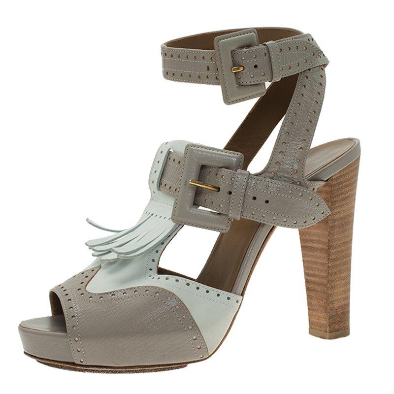 d5605db1d850 ... Hermes Two Tone Brogue Leather Fringe Platform Sandals Size 38.  nextprev. prevnext