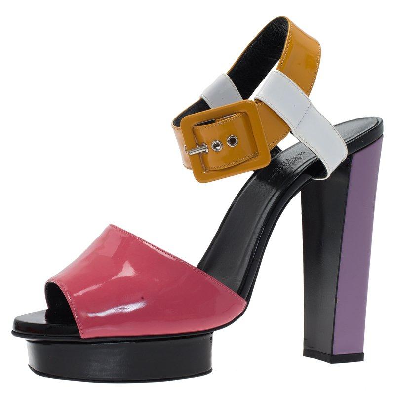 Hermes Multicolor Patent Ankle Strap Platform Sandals Size 40.5
